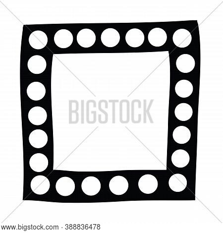 Square Black Frame Hand Drawn With White Polka Dots. Black And White Design Element For Decoration.
