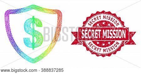 Spectrum Colored Network Dollar Protection, And Secret Mission Textured Ribbon Stamp. Red Stamp Seal