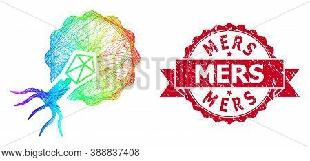 Spectrum Vibrant Wire Frame Virus Infecting Cell, And Mers Grunge Ribbon Stamp Seal. Red Stamp Seal