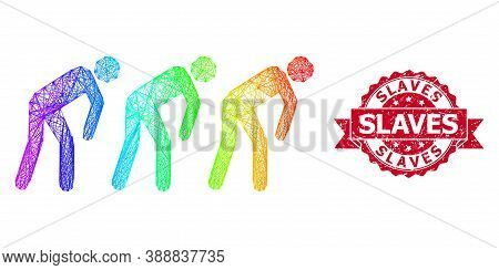 Rainbow Vibrant Net Slave People, And Slaves Grunge Ribbon Stamp. Red Stamp Has Slaves Title Inside