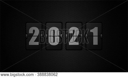 New Year 2020. Numbers On Mechanical Scoreboard. 3d Vector Illustration On Black Background.