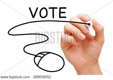 Hand Drawing Computer Mouse Under The Word Vote With Black Marker On Transparent Wipe Board. Online,
