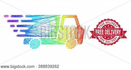 Bright Colorful Network Quick Delivery, And Free Delivery Grunge Ribbon Stamp Seal. Red Stamp Seal H