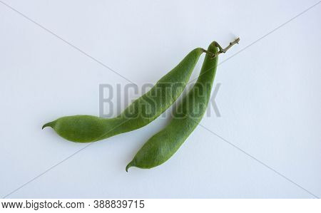 Soy Beans, Close-up. Green Soy Pod On A White Background