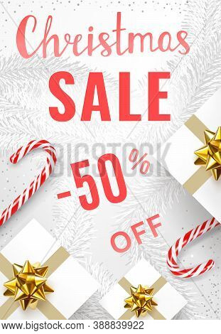 Christmas Sale Poster Template With Christmas Decorations - Christmas Candy Canes, Gift Boxes With G