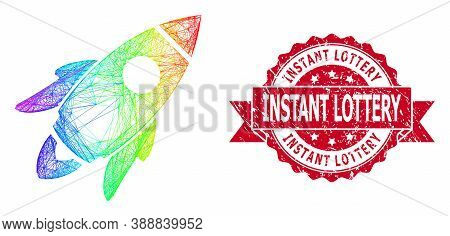 Rainbow Vibrant Wire Frame Space Rocket, And Instant Lottery Corroded Ribbon Stamp Seal. Red Stamp S