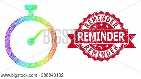 Rainbow Colorful Net Time Tracker, And Reminder Grunge Ribbon Watermark. Red Seal Has Reminder Title