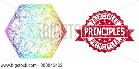 Spectrum Colored Network Filled Hexagon, And Principles Dirty Ribbon Seal Print. Red Stamp Seal Incl