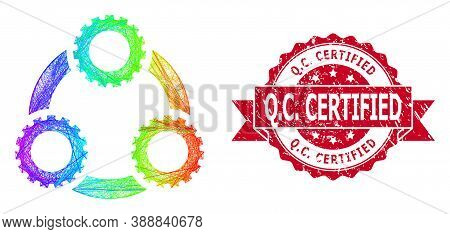 Spectrum Vibrant Wire Frame Gear Planetary Transmission, And Q.c. Certified Scratched Ribbon Stamp S