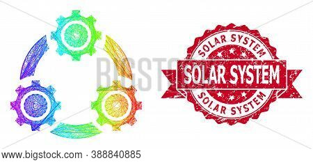 Spectrum Colorful Net Gear Planetary Transmission, And Solar System Corroded Ribbon Stamp Seal. Red