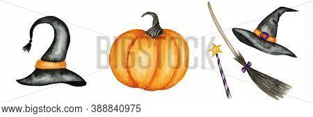 Halloween Pumpkin, Witch Hat, Broom, Magic Wand Set. Watercolor Black Wizard Costume Cap With Orange