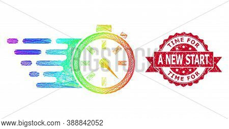 Rainbow Vibrant Wire Frame Timer, And Time For A New Start Corroded Ribbon Stamp Seal. Red Stamp Sea