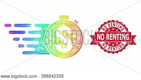 Rainbow Colored Wire Frame Credit Meter, And No Renting Unclean Ribbon Stamp Seal. Red Stamp Seal Ha