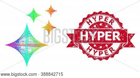 Spectrum Vibrant Network Shine Stars, And Hyper Unclean Ribbon Stamp Seal. Red Stamp Seal Includes H
