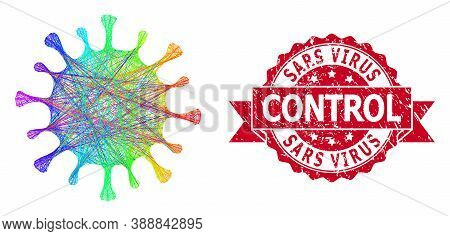 Rainbow Colorful Wire Frame Coronavirus, And Sars Virus Control Rubber Ribbon Seal Imitation. Red Se