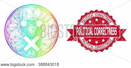 Spectrum Colored Wire Frame Silence Smiley, And Political Correctness Scratched Ribbon Stamp Seal. R