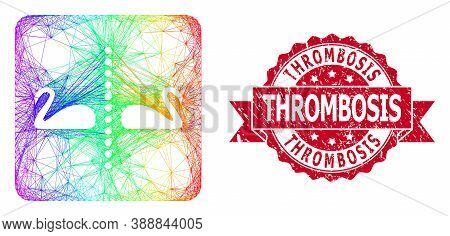 Rainbow Colorful Network Separate Swans, And Thrombosis Grunge Ribbon Seal Imitation. Red Seal Has T