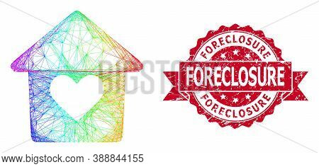 Spectrum Vibrant Wire Frame Lovely House, And Foreclosure Rubber Ribbon Seal Print. Red Stamp Seal I