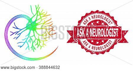Spectrum Colored Network Neuron, And Ask A Neurologist Rubber Ribbon Seal Imitation. Red Seal Contai