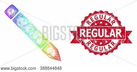 Rainbow Colorful Wire Frame Pencil, And Regular Unclean Ribbon Stamp Seal. Red Stamp Seal Has Regula