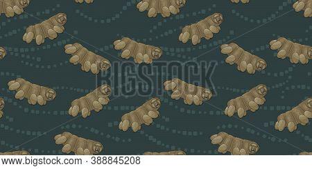 Brown Or Yellow Cute Tardigrade, Water Bears Or Moss Piglets Vector Repeat Seamless Pattern On Dark