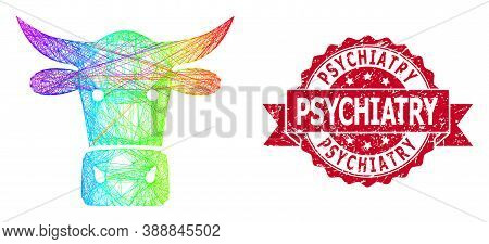 Rainbow Vibrant Wire Frame Cow Head, And Psychiatry Unclean Ribbon Stamp Seal. Red Stamp Seal Has Ps