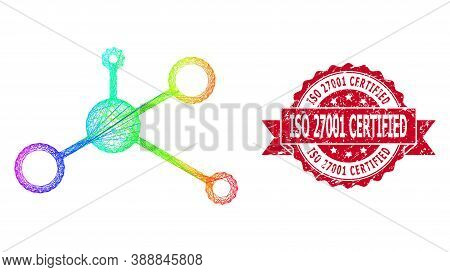 Rainbow Vibrant Wire Frame Masternode, And Iso 27001 Certified Scratched Ribbon Stamp Seal. Red Stam