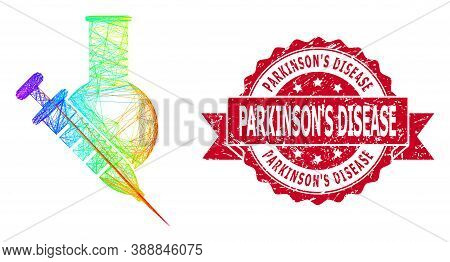 Rainbow Colorful Wire Frame Vaccine Labs, And Parkinsons Disease Scratched Ribbon Stamp Seal. Red St