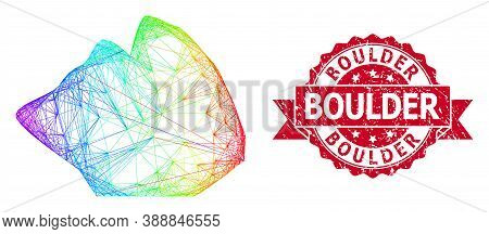 Spectrum Vibrant Net Rock Stone, And Boulder Unclean Ribbon Seal Imitation. Red Stamp Seal Contains