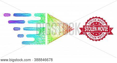Spectrum Colorful Wire Frame Motion, And Stolen Movie Grunge Ribbon Stamp. Red Stamp Has Stolen Movi