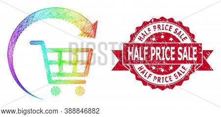 Rainbow Vibrant Network Repeat Shopping Cart, And Half Price Sale Scratched Ribbon Stamp. Red Stamp
