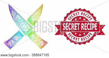 Rainbow Vibrant Wire Frame Crossing Knives, And Secret Recipe Dirty Ribbon Seal Print. Red Seal Cont