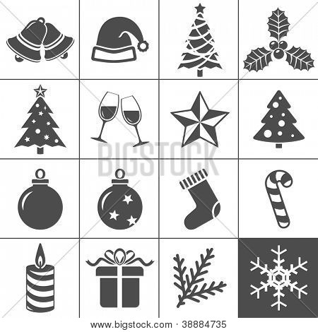 Christmas Icons. Each icon is a single object (compound path). Simplus series