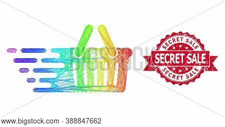 Rainbow Vibrant Wire Frame Shopping Basket, And Secret Sale Scratched Ribbon Stamp. Red Stamp Includ