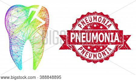 Rainbow Colorful Network Tooth Fracture, And Pneumonia Dirty Ribbon Stamp Seal. Red Stamp Has Pneumo