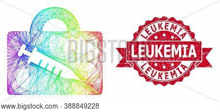 Rainbow Colorful Wire Frame Vaccine Case, And Leukemia Corroded Ribbon Watermark. Red Seal Has Leuke