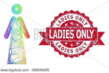Spectrum Colored Wire Frame Lady, And Ladies Only Grunge Ribbon Watermark. Red Seal Includes Ladies