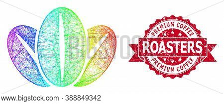 Rainbow Colored Network Coffee Beans, And Premium Coffee Roasters Grunge Ribbon Stamp. Red Stamp Sea