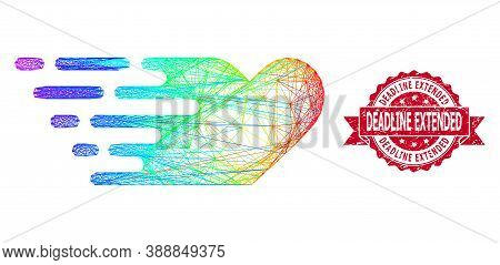 Rainbow Colored Wire Frame Rush Lovely Heart, And Deadline Extended Corroded Ribbon Seal Print. Red