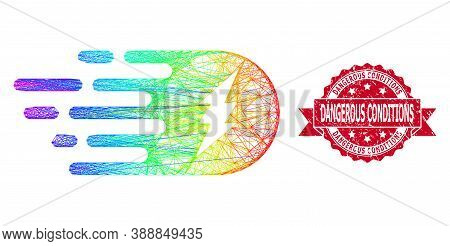 Spectrum Colorful Net Electric Strike, And Dangerous Conditions Corroded Ribbon Stamp Seal. Red Seal
