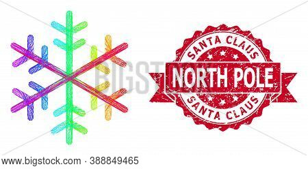 Spectrum Colored Network Snowflake, And Santa Claus North Pole Grunge Ribbon Stamp Seal. Red Stamp S