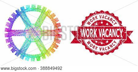 Rainbow Colored Wire Frame Clock Gearwheel, And Work Vacancy Grunge Ribbon Seal Print. Red Seal Has