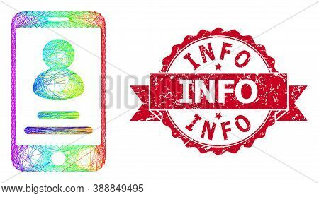 Rainbow Colored Net Smartphone User Info, And Info Unclean Ribbon Watermark. Red Stamp Includes Info