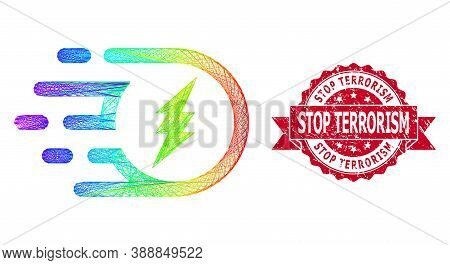 Spectrum Colored Network Electric Participle, And Stop Terrorism Dirty Ribbon Stamp Seal. Red Stamp