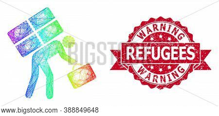 Spectrum Colored Net Refugee Person, And Warning Refugees Rubber Ribbon Seal Imitation. Red Stamp Se