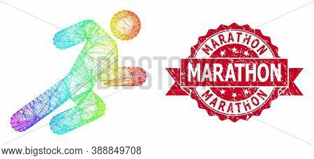 Bright Colored Wire Frame Running Man, And Marathon Dirty Ribbon Stamp. Red Stamp Seal Has Marathon