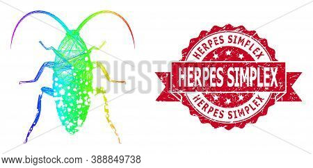 Bright Colored Net Damaged Cockroach, And Herpes Simplex Scratched Ribbon Stamp Seal. Red Stamp Seal