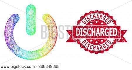 Rainbow Vibrant Network Turn Off, And Discharged Corroded Ribbon Seal Imitation. Red Stamp Seal Cont