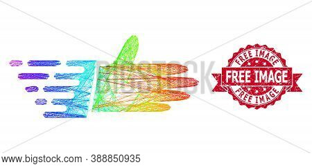 Bright Colored Net Hand Palm, And Free Image Textured Ribbon Seal Imitation. Red Seal Contains Free