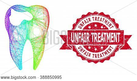 Rainbow Colored Wire Frame Tooth Caries, And Unfair Treatment Dirty Ribbon Stamp. Red Stamp Includes